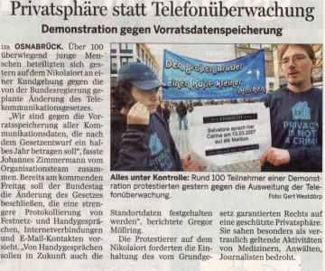 Kundgebung gegen die Vorratsdatenspeicherung in Osnabrück