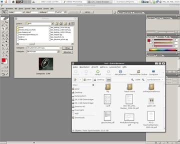 Vergleich Gnome-Desktopumgebung (Vordergrund) und WINE-Photoshop (Hintergrund)