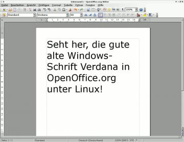 OpenOffice.org mit Verdana-Text