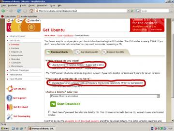 Download-Seite von Ubuntu.com