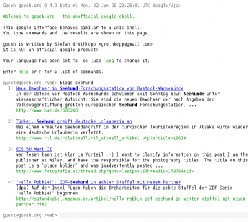 Goosh, die Google-Shell