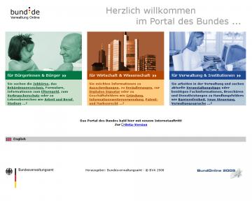 Die alte Startseite von bund.de