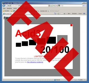 Der Internet Explorer 8 und der Acid3-Test