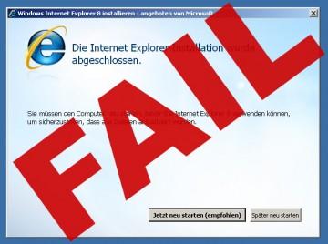 Der Internet Explorer 8 und die Neustarts