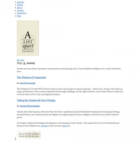 A List Apart mit universellem IE-Stylesheet