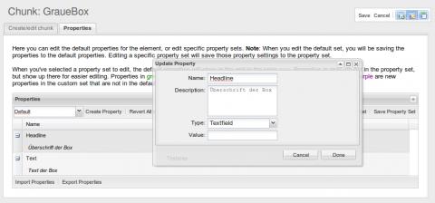 Anlegen eines Property Sets in MODx Revolution