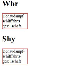 Das Shy-Entity und WBR im Vergleich