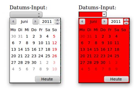 HTML5-Datumspicker + CSS = Desaster