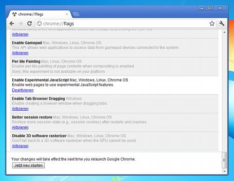 Der ES6-Aktivierungs-Dialog in Chrome