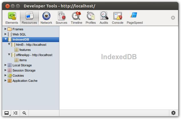 Der Indexed DB-Betrachter der Developer Tools von Chrome zeigt Datenbanken und Object Stores
